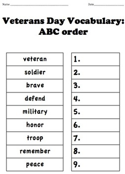 Veterans Day Vocabulary: ABC Order
