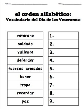Veterans Day Vocabulary: ABC Order - SPANISH