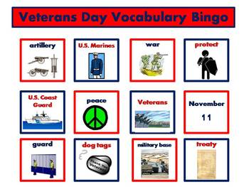 Veterans Day Vocabulary Bingo