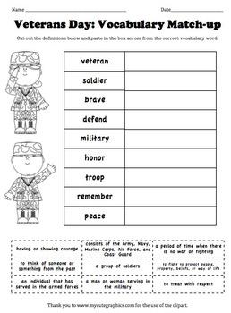 Veterans Day Vocabulary Match-up