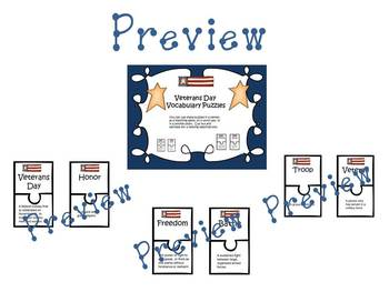 Veterans Day Vocabulary Puzzles