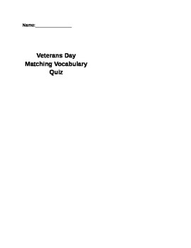 Veterans Day Vocabulary Quiz