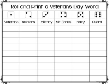 """Veterans Day Game - Roll a Word  (""""Roll It and Write It"""")"""
