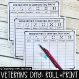 Veterans Day Literacy Center - Roll it and Write it!