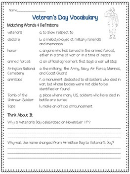 Veterans Day Vocabulary Sheet