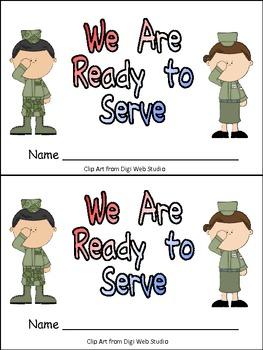 Veterans Day- We Are Ready to Serve Emergent Reader Kindergarten