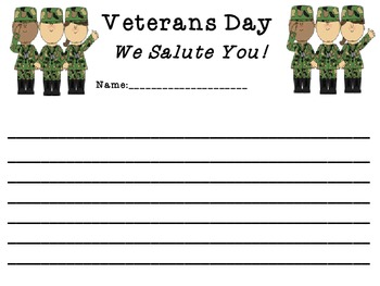 Veterans Day We Salute You Writing Paper