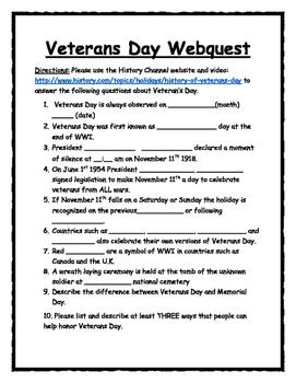 Veterans' Day Webquest