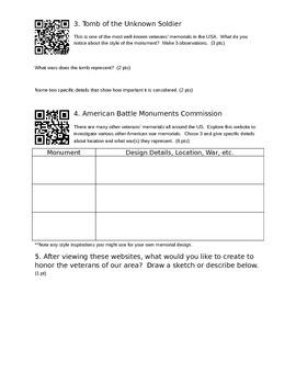 Veterans Day Webquest (with QR codes)