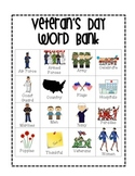 Veteran's Day Word Bank with Pictures