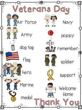 Veterans Day Word List and Word Wall Cards