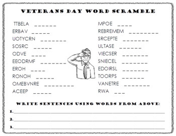 Veterans Day Word Scramble and ABC Order Cut and Paste
