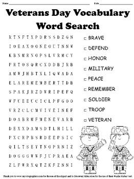 Veterans Day Word Search by MyAceStraw | Teachers Pay Teachers