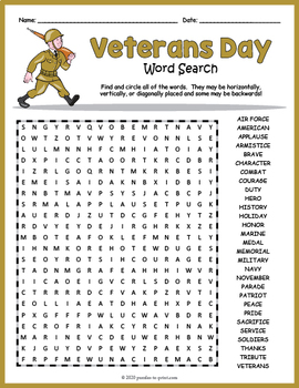 Veterans Day Word Search Puzzle by Puzzles to Print TpT