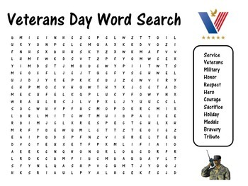 graphic relating to Veterans Day Word Search Printable named Veterans Working day Video game Veterans Working day Term Seem Veterans Working day Wordsearch