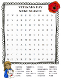 Veterans Day Word Search (color and BW versions)