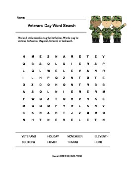 Veterans Day Word Search (Grades 1-3)