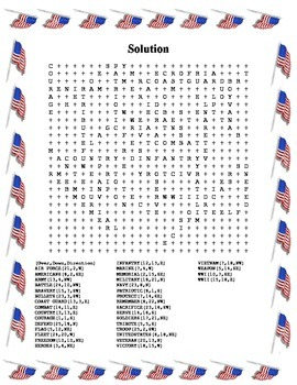 Veterans Day Word Search- Harder 35 Words