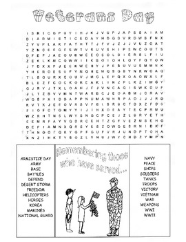 Veterans Day Word Search Puzzle 3rd Grade 4th Grade