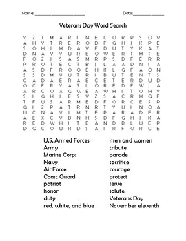 Veterans Day Word Search and Activities