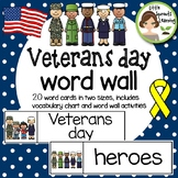 Veterans Day Word Wall (20 cards in two sizes plus word list)