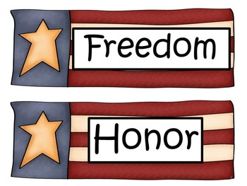 Veterans Day Word Wall Cards