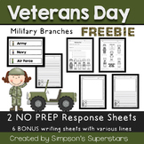 Veterans Day Word Wall Cards and Response Sheets