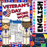 Veterans' Day Word Work Freebie for little kids