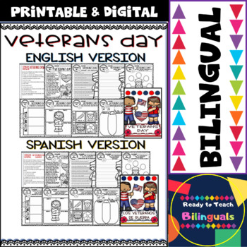 Veterans Day - Worksheets and Reading Comprehension - Bilingual Set