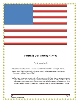 Veterans Day Writing Activity Printable