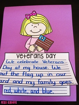 Veterans Day Writing Craft Activities NO PREP