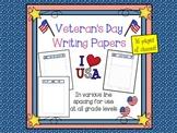 Veterans Day Writing Paper Set (FREE)