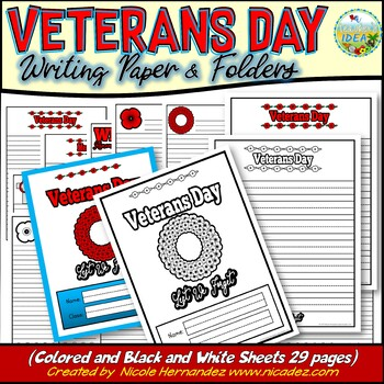 Veterans Day Writing Paper with Folder Covers