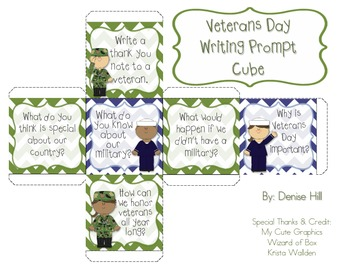 Veterans Day Writing Prompt Cube