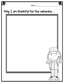 Veterans Day Differentiated Writing Prompt &  Word Wall Cards