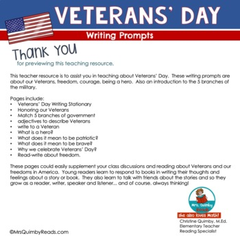Veterans' Day - Writing Prompts - Honor Our Heroes