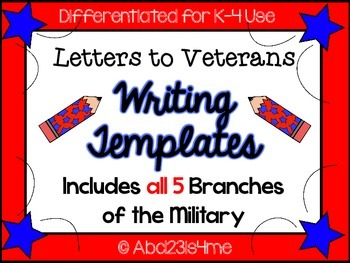 Veterans Day Letter Writing Templates {Differentiated}- All 5 Military Branches
