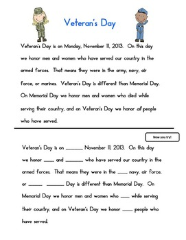 Veteran's Day activity pages second grade