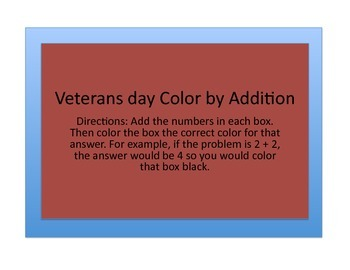 Veterans Day Math activity