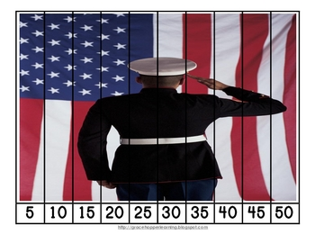 Veteran's Day and Memorial Day Number Order and Skip Counting Puzzles
