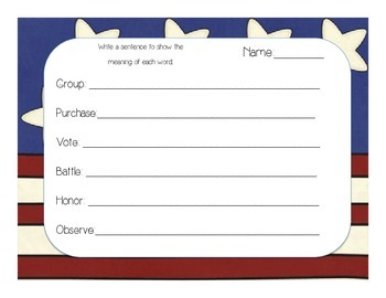 Veterans Day and Memorial Day Vocabulary Activities: Context Clues & Synonyms