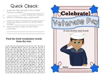 Veterans Day non-fiction minibook