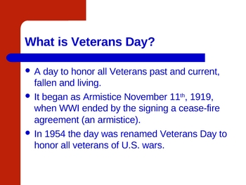 Veterans Day ppt for classroom ceremony