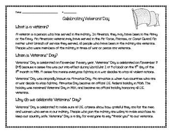 Veterans' Day reading passa... by Mz H | Teachers Pay Teachers