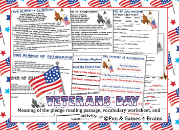 Veterans, Memorial Day - the meaning of the pledge-reading passage&activities