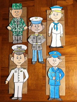 Veterans Day/Memorial Day Male and Female 10 Military Puppets
