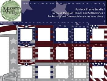 Veterans-Memorial Day Patriotic Frame Clip Art Bundle {Mes