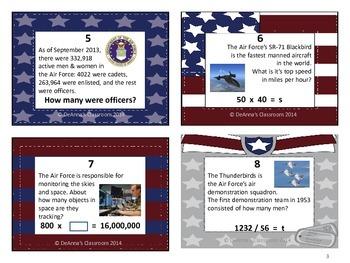 Veterans' & Memorial Day Patriotic Math Task Cards: 4th-6th Grade