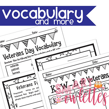 Veterans Day - Maps for Thinking - Writing - Letter Template - Vocabulary