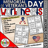 Memorial or Veteran's Day Quilt Worksheets (Armed Services)